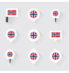 Norway flag and pins for infographic and map vector