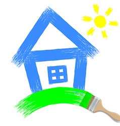 Paintbrush painting a house on a white background vector