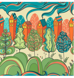 Seamless pattern with trees and houses vector