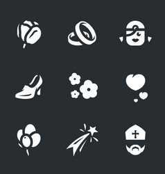 set of marriage icons vector image