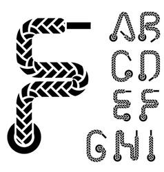 shoe lace alphabet letters part 1 vector image vector image