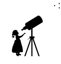 silhouette girl looks into space telescope vector image