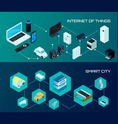 Smart city isometric banners set vector