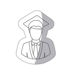 Sticker silhouette half body man with graduation vector