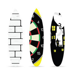 Surfboard with various element on it set vector