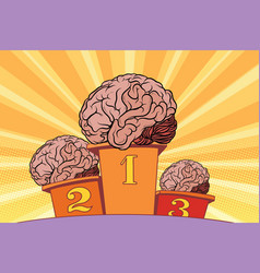 The human brain on sports podium vector