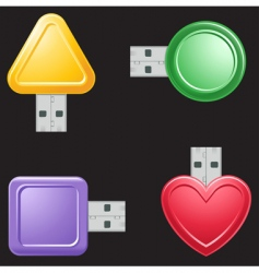 USB flash drive shapes vector image vector image