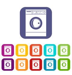 Washing machine icons set flat vector