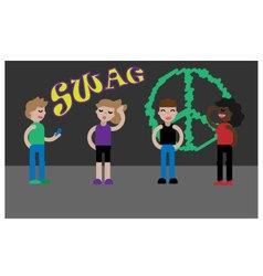 Set of cartoon teenager kids vector image