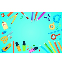 Top view stationery template vector