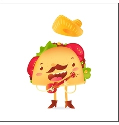 Happy taco character in sombrero singing and vector
