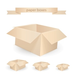 Cardboard boxes isolated on white realistic vector