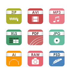 Simple square file types formats labels icon set vector