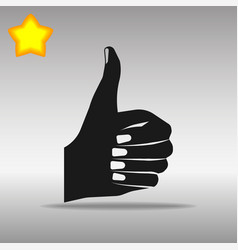 thumb up black icon button logo symbol vector image