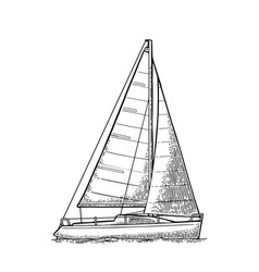 Sailing yacht sailboat drawn flat vector