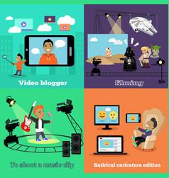 Video industry blogger filming design flat vector