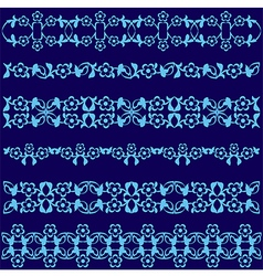 Ottoman motifs blue design series of fifty seven vector