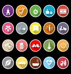 Friday and weekend flat icons with long shadow vector