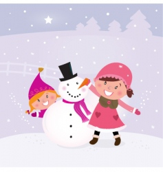 children and snowman vector image
