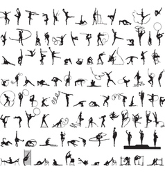 set of silhouettes Rhythmic Gymnastics vector image