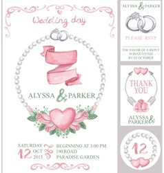 Watercolor wedding invitation setpink roses vector