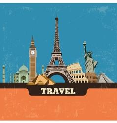 Travel world landmark background vector image