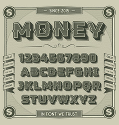 Vintage money font with shadow vector