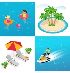 Little girls swimming in inflatable ring palm vector