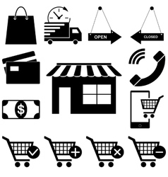 Shopping icons set web-story flat style vector