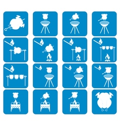 Set of chicken barbecue icons vector