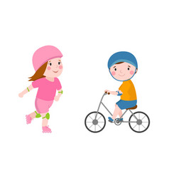 activity boy on bike young fun sport happy child vector image vector image