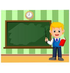 Back to school cute schoolchild at the blackboard vector