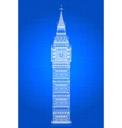 Big ben blueprint vector