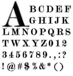 Black Alphabet and Silver Edge set vector image