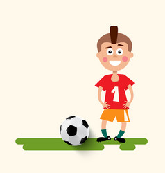 Boy with football ball flat design soccer sport vector