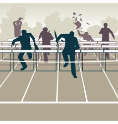 Businessmen hurdles vector
