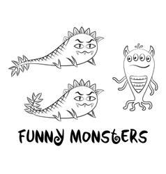 Contour Monsters Set vector image