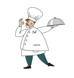 Cute chef holding a tray of delicious dishes vector