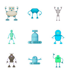 Evil cyborgs icons set cartoon style vector