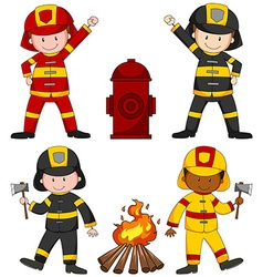 Firefighters and many equipments vector image