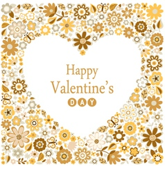 floral heart card happy valentine day vector image vector image