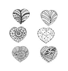 Hand Drawn Doodle Hearts Set vector image