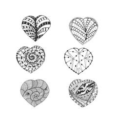 Hand Drawn Doodle Hearts Set vector image vector image