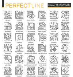 Human productivity outline mini concept symbols vector