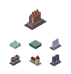 isometric architecture set of house clinic vector image