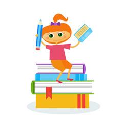 little girl reading sitting on stack of books vector image