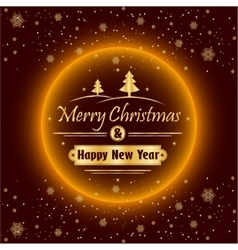 Merry Christmas and Happy New Year with gold vector image