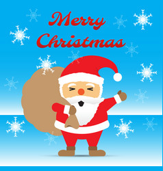 merry christmas - santa claus carrying gift bag vector image