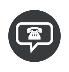 Monochrome round phone message icon vector image vector image
