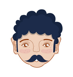 Nice man face with mustache and hairstyle vector